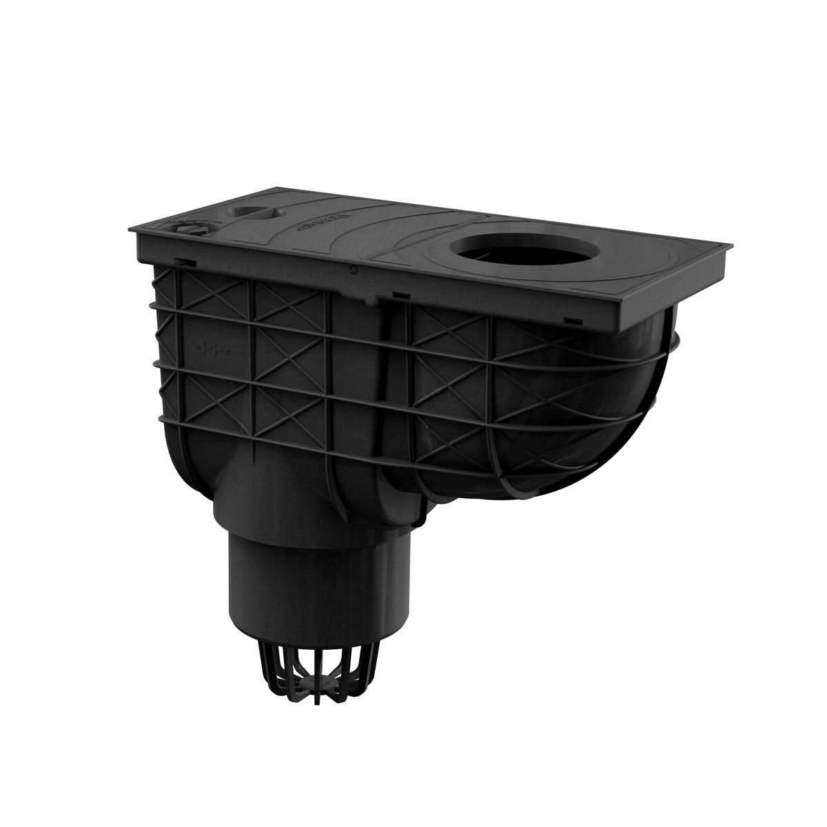 regensink kasten mit senkrechtem abgang dn110 schwarz mit schmutzfangsieb ebay. Black Bedroom Furniture Sets. Home Design Ideas