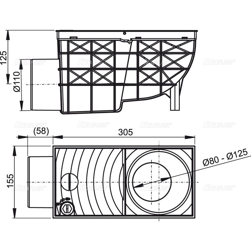 regensink kasten mit waagerechtem abgang dn110 schwarz mit schmutzfangsieb. Black Bedroom Furniture Sets. Home Design Ideas